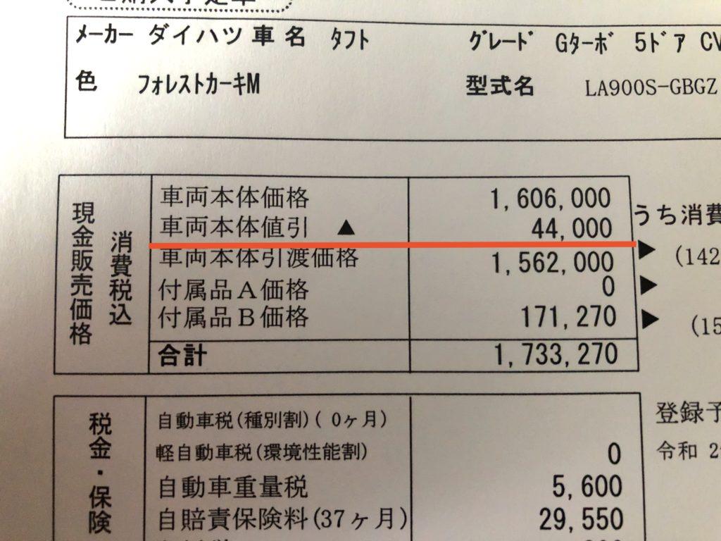 TAFTの値引き額の画像